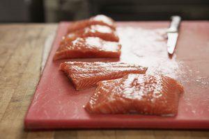dinner - Steelhead trout with yam tempura